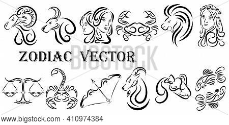 Vector Graphic Illustration Of Zodiac Signs. All Zodiac Signs In Line Art Concept: Aries; Taurus; Ge