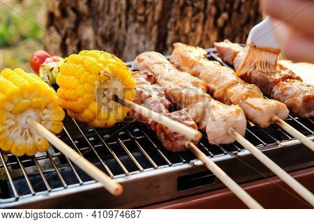 Closeup Image Of Grilled Vegetable And Chicken Skewers On A Hot Barbecue