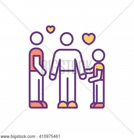 Strong Family Rgb Color Icon. Positive Relationships. Strong Connections Between Parents And Child.