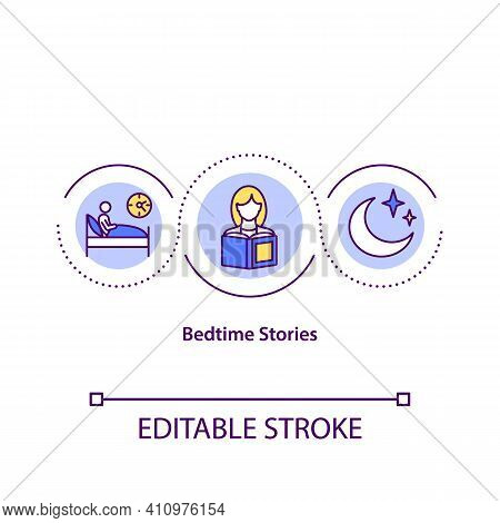 Bedtime Stories Concept Icon. Traditional Form Of Storytelling Idea Thin Line Illustration. Tell Sto