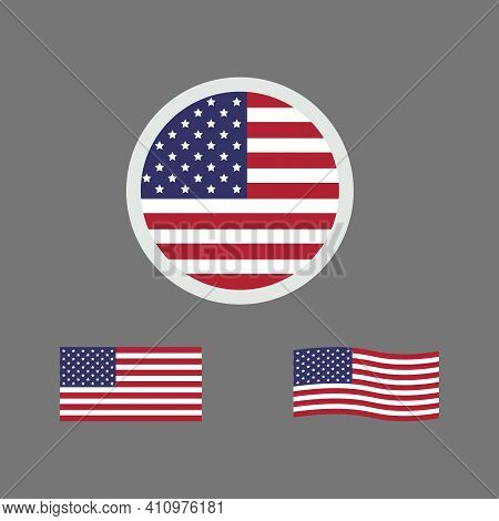 United States Of America Flag. Vector Illustration Of United States Flag Sign Symbol. United States