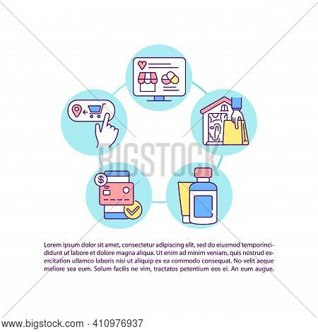 Online Pharmacy Order Concept Icon With Text. E-commerce, Drugstore Business. Purchase Pills. Ppt Pa