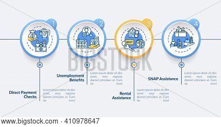 Rental Assistance Vector Infographic Template. Direct Payment Checks Presentation Design Elements. D