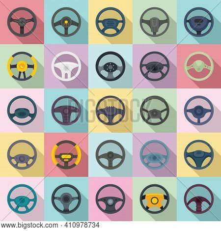 Steering Wheel Icons Set. Flat Set Of Steering Wheel Vector Icons For Web Design