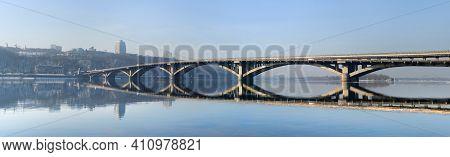 Panorama Of Metro Bridge Over Dnipro River. Kyiv, Ukraine