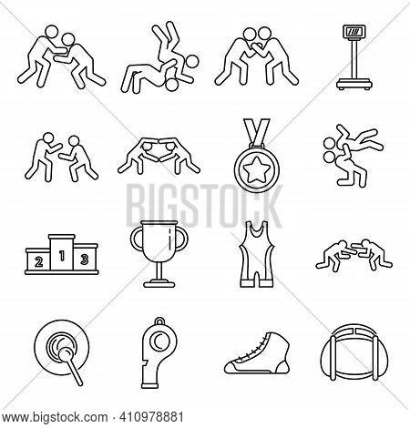 Sport Greco-roman Wrestling Icons Set. Outline Set Of Sport Greco-roman Wrestling Vector Icons For W