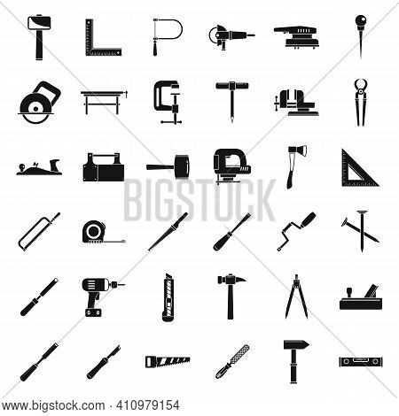 Modern Carpenter Tools Icons Set. Simple Set Of Modern Carpenter Tools Vector Icons For Web Design O