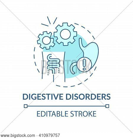 Digestive Disorders Concept Icon. Gastrointestinal Symptoms Idea Thin Line Illustration. Stomach Ups