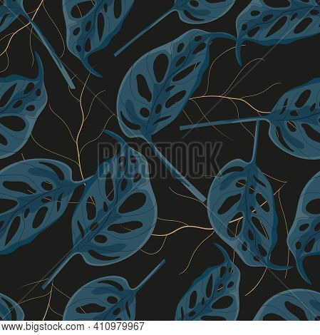 Seamless Tropical Monstera Plant Leaves On Black Background,vector Tropical With Dark Blue Leaves Wi