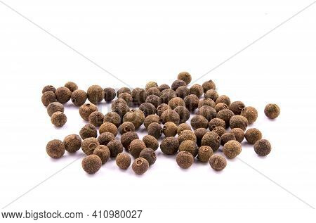 Pile Of Allspice Isolated On White Background. Jamaica Pepper, Allspice Peppercorns Or Myrtle Pepper