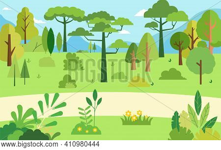 Rural Scene With Natural Tree.vector Illustration.beautiful Summer Nature Landscape.forest With Moun