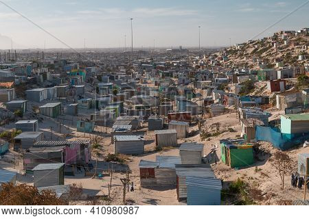 Township Houses In The Sand Dunes In Cape Town, South Africa