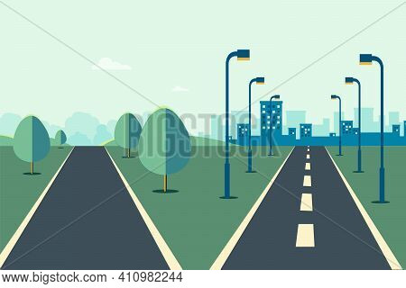 Cityscape Scene With Road Two Ways  And Sky Background Vector Illustration.street To City And Rural