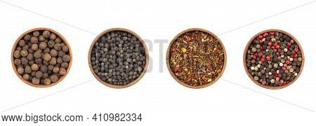 Pepper Mix. Black, Red, Green, White And All Spice Peppercorns Isolated On White Background. Heap Of