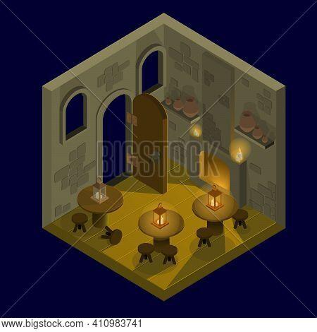 Isometry Tavern On A Dark Blue Background