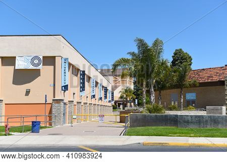IRVINE, CALIFORNIA - 16 APRIL 2020: Gymnasium and banners at University High School, The first high school in Irvine, is a top rated public school in Orange County.