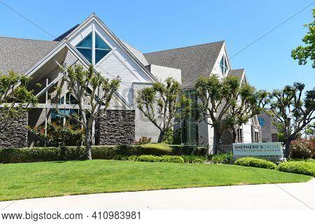 IRVINE, CALIFORNIA - 16 APRIL 2020: Sign at Shepherds Grove Presbyterian Church, lead by Senior Pastor Bobby Schuller.