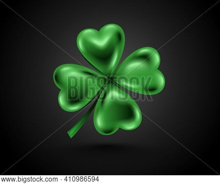 Glossy Green Clover Leaf, Dark Vector Illustration For St. Patrick Day. Isolated Four-leaf On Black