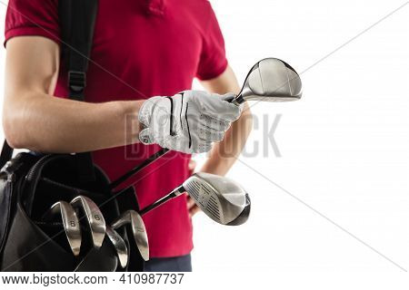 Close Up. Golf Player In A Red Shirt Isolated On White Studio Background With Copyspace. Professiona