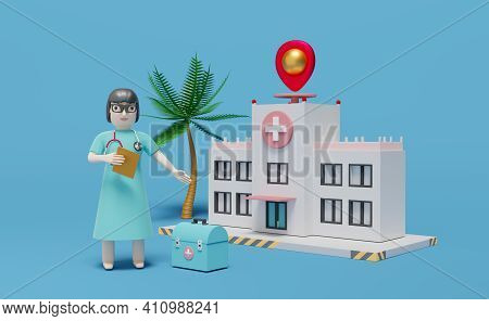 Hospital Building And Doctor With Medical Equipment And Pin In Blue Composition ,concept 3d Illustra