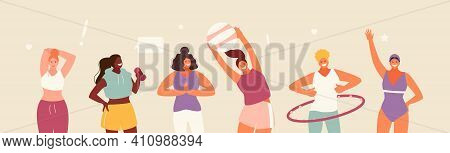 Active Girls And Various Sports. I Love Sports. Healthy Lifestyle Vector Illustration