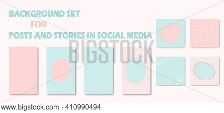Set Abstract Backgrounds In Trendy Minimal Style. Girly Backdrops For Social Media Posting With Plac