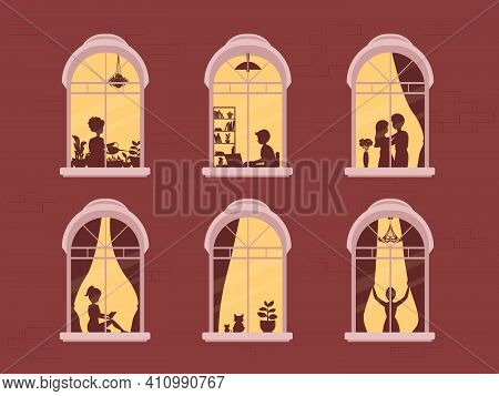 Neighbors In Windows. People In Window Frames . Neighbors That Live In Apartments. The Facade Of The