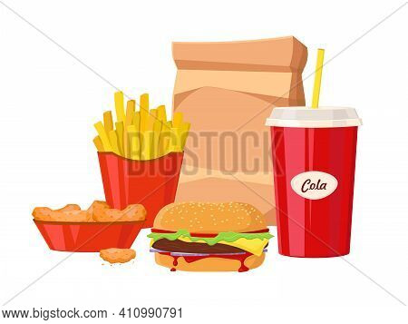 Group Of Fast Food Products. Fast Food Hamburger Dinner And Restaurant, Tasty Set Fast Food Many Mea