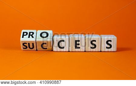 Success Process Symbol. Turned Wooden Cubes And Changed The Word 'success' To 'process'. Beautiful O