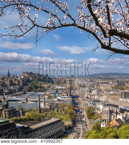 Panorama Of Old Town With Princess Street And Edinburgh Castle During Spring Time In Scotland