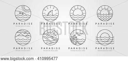Set Of Ocean Line Art Logo Vector Minimalist Design, Ocean Landscape Icon Symbol Vector Illustration