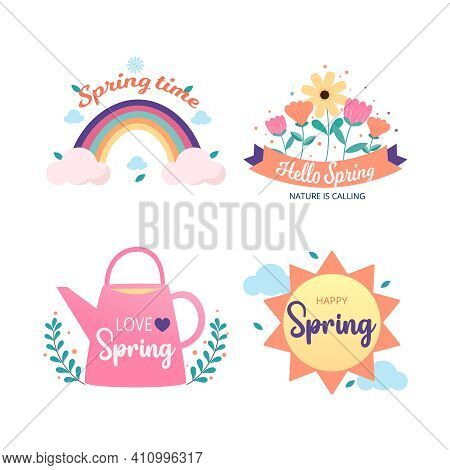 Spring Time Badge And Label Collection. Spring Design. Hello Spring. Hand Drawn. Vector Illustration