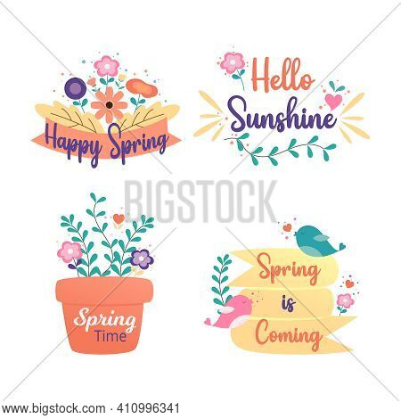 Happy Spring Badge And Label Collection. Hello Spring. Hand Drawn. Vector Illustration. Spring Desig