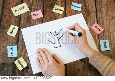 Hand Drawing Software Scrum Agile Circle In Board With Paper Task, Closeup