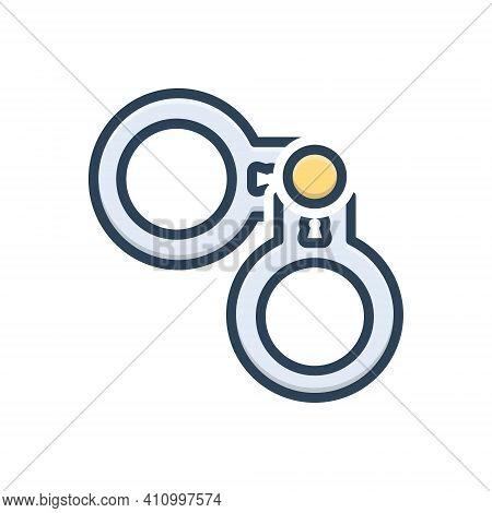 Color Illustration Icon For Crime Handcuff Criminal Delinquency Suspect Arrest Chain Custody Guilt E