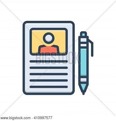Color Illustration Icon For Curriculum Description Resume Profile Application Recruitment Document P