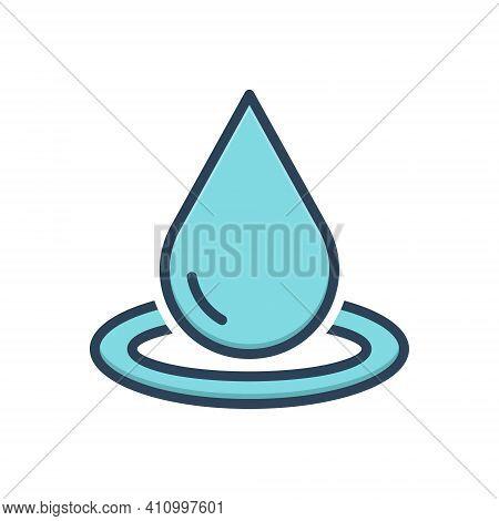 Color Illustration Icon For Drop Pure Ripple Splash Aqua Oil Droplet Water Drinkable Fresh Beverage