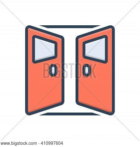 Color Illustration Icon For Door Open Entrance Gateway Inlet Doorway Exit Entry Interior