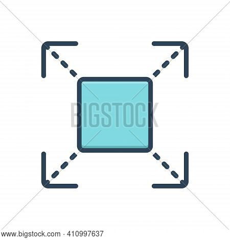 Color Illustration Icon For Extend Prolong Expand Enlarge Distend Develop Widen Fullscreen Broaden A