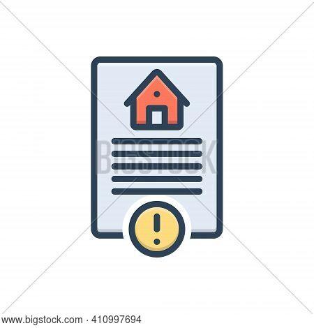 Color Illustration Icon For Risk Hazard Peril Danger Riskiness Property Home Calm Legal Paper