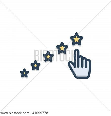 Color Illustration Icon For Expect Hope Anticipate Await Rating Star Best Valuation Feedback Review