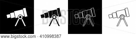 Set Telescope Icon Isolated On Black And White Background. Scientific Tool. Education And Astronomy