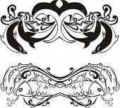 Stylized symmetric vignettes with dolphins and fish. Vector illustration EPS8 poster