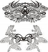 Stylized symmetric vignette with lizards. Vector illustration EPS8 poster