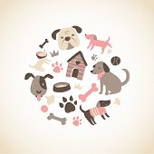 Set of cute doggy related icons arranged in a circle. Available as vector in Illustrator EPS 10 format with organized and named layers. Also available as high quality large JPEGs. poster