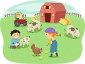 Illustration of Kids Wearing Farmhand Outfits Tending to Animals in a Ranch poster