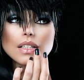 Fashion Art Portrait Of Beautiful Girl. Vogue Style Woman. Hairstyle. Black Hair and Nails. Isolated on Black Background. Beauty Stylish Model Portrait poster
