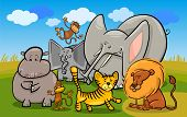 Cartoon Illustration of Cute African Safari Wild Animals Group against Blue Sky poster