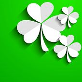Irish four leaf lucky clovers background for Happy St. Patrick's Day. EPS 10. poster