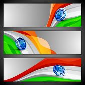 India Nation Flag waving design in website headers or banners set. EPS 10. poster